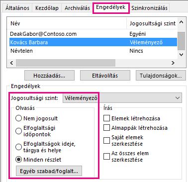 A naptármegosztás Engedélyek lapja az Outlook 2013-ban