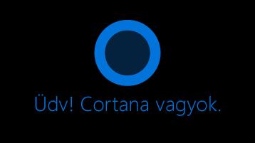 """A Cortana ikonra, a képernyőn a szavakat, """"Hi. Megnyitottam Cortana""""alább az ikonjára."""