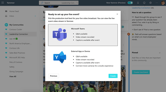 Screenshot that shows setup options for a Yammer live event