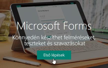 Az Első lépések gomb a Microsoft Forms kezdőlapján