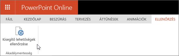 Képernyőkép a Véleményezés lapról, amelyen a kurzor A kisegítő lehetőségek ellenőrzése beállításra mutat