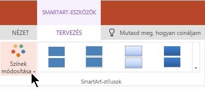 A Színgyűjtemény megnyitásához a SmartArt-eszközök eszköztárban válassza a Színek módosítása lehetőséget.