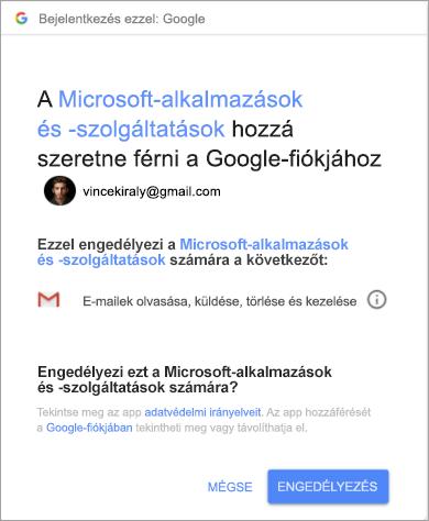 Az Outlook engedélyablakának megjelenítése a Gmail-fiók eléréséhez