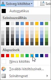 Szövegkitöltő szín választása
