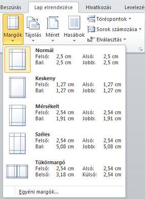 A Margók gyűjtemény a Lap elrendezése lap Oldalbeállítás csoportjában