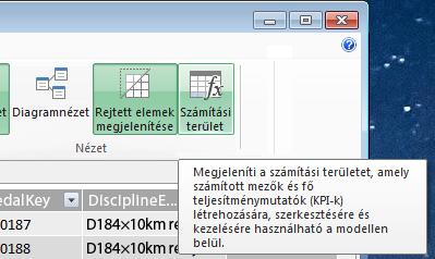 A számítási terület a PowerPivot bővítményben