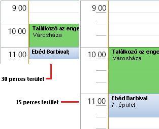 Példa a naptár 30 és 15 perces időosztására