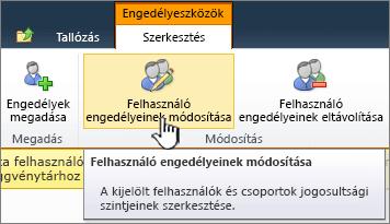 Felhasználó engedélyeinek szerkesztése