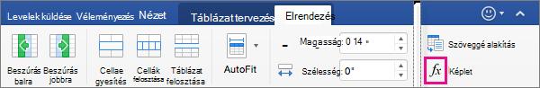 Ha az ablak széles, a képlet megjelenik az Elrendezés lapon magát, és nem az adatok menü.