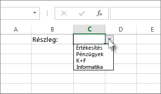 Példa egy legördülő listára az Excelben