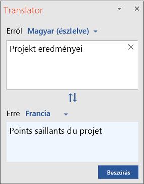 Angolról francia nyelvre fordított szavakat tartalmaz Fordító panel