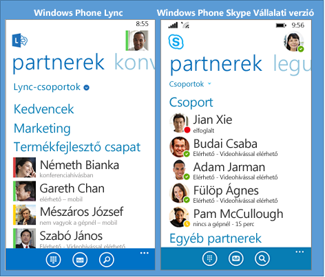 Side-by-side comparision of Lync and Skype for Business for Windows Phone