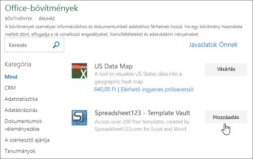 Képernyőkép a választhatja ki az Office-bővítmények lap vagy keresése bővítmény az Excel megjeleníti.