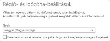 Az Outlook Web App nyelvének megadása, és annak eldöntése, hogy átnevezi-e a mappákat