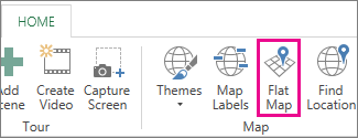 A Power Map Kezdőlap lapjának Sík térkép gombja