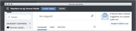 A Yammer App frissítései