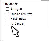 Felső vagy alsó index választása