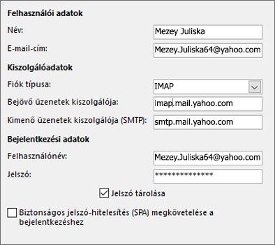 A Yahoo kiszolgálóadatainak megadása