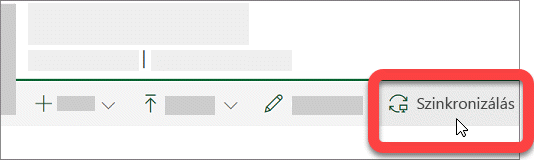 Képernyőkép egy SharePoint-tár Szinkronizálás gombjáról.