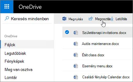 Képernyőkép a kijelölt fájlról és a Megosztás gombról a OneDrive-ban