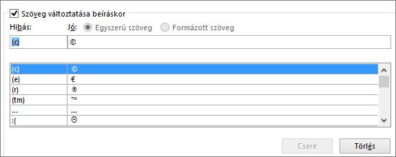Az automatikus javítási lista