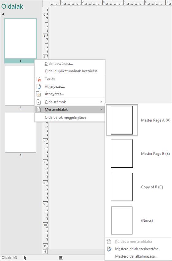 Képernyőkép a helyi menü beállítás mesteroldalak mesterlap elérhető beállítások a kiválasztott jeleníti meg.