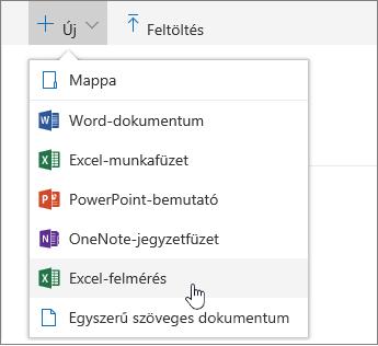 Új menü, Excel-felmérés parancs