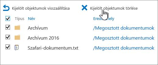 SharePoint 2016 – másodfokú lomtár kijelölt elemekkel és kiemelt törlés gombbal