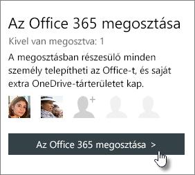 """Képernyőkép: """"Az Office 365 megosztása"""" szakasz a Saját fiók lapon, amely 1 személlyel megosztott előfizetést jelenít meg."""