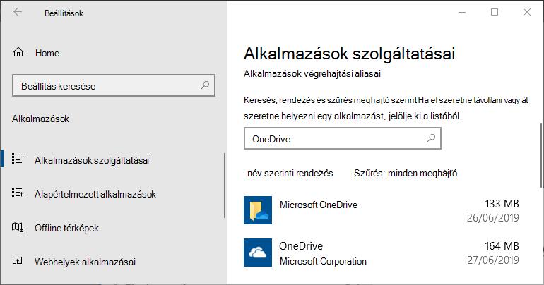 A OneDrive a Windows app-beállításaiban