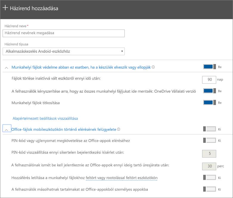 Képernyőkép a Házirend létrehozása lap kijelölt Alkalmazáskezelés Android-eszközökhöz beállításáról