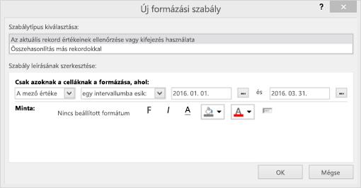 Képernyőkép: az új formázási szabály felület