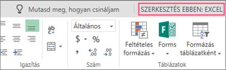 A Szerkesztés az Excel programban gomb