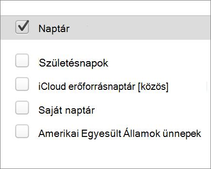 iCloud naptár, a Mac Outlook 2016-ban