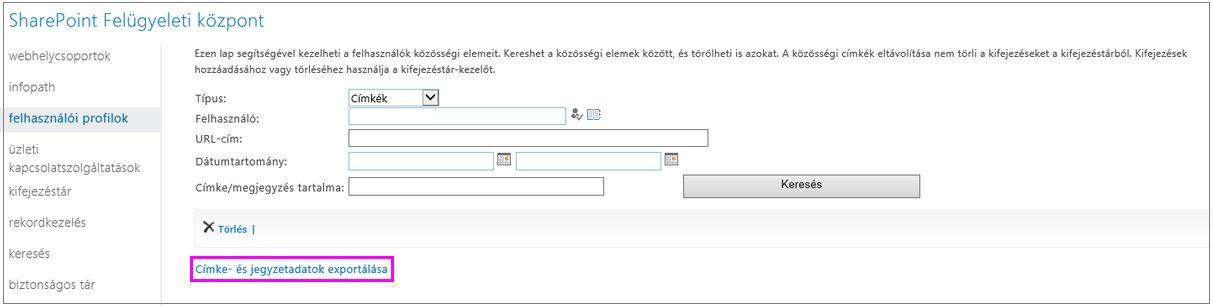 Képernyőkép: kiemelt exportálási hivatkozás