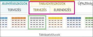 Táblázatstílusok csoport a Táblázateszközök Terv lapján
