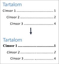 Szövegstílusok formázásának nézete a formázás előtt és után egy tartalomjegyzékben