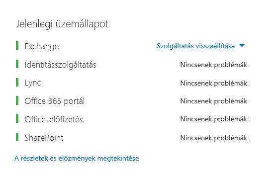Az Office 365 Állapotjelző irányítópultja, amelyen az összes munkaterhelés zölden látható, kivéve az Exchange-t, ahol a Szolgáltatás visszaállítva felirat jelenik meg.