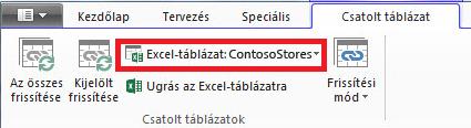 Menüszalag a csatolt Excel-táblázat feliratával
