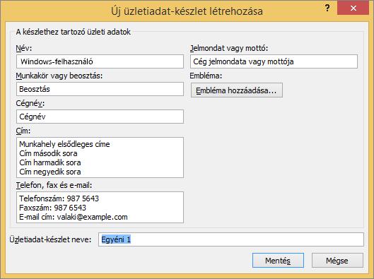 Képernyőkép az Új üzletiadat-készlet létrehozása párbeszédpanelről