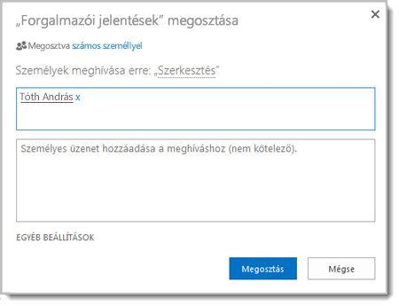 Ezen a képen egy webhely Megosztás párbeszédpanelje látható.