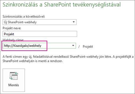 Szinkronizálás új SharePoint-webhellyel a képen