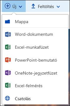 Új fájl létrehozása egy Office 365-ös dokumentumtárban