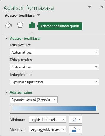 Excel-térképdiagram – Az Objektum formázása munkaablak Adatsor beállításai csoportja