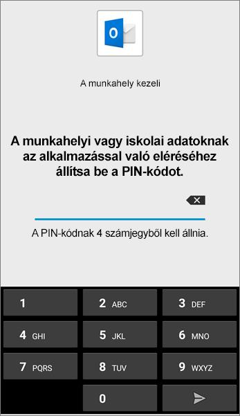 PIN-kód beállítása az Outlook apphoz Android rendszerben