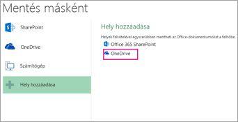 A Mentés a OneDrive-ba beállítás