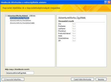 Csatolható webszolgáltatás-adatkapcsolat