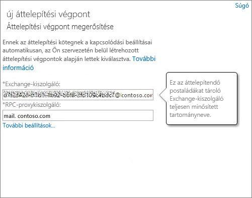 Megerősített Outlook Anywhere-végpontkapcsolat.