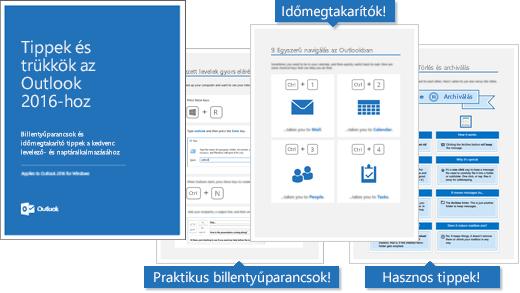 A Tippek és trükkök az Outlook 2016-hoz e-könyv fedőlapja és néhány tippet megjelenítő lapjai