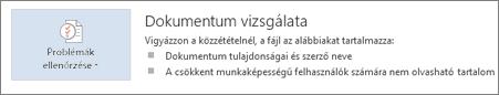 A Dokumentum vizsgálata parancs a Word 2013-ban